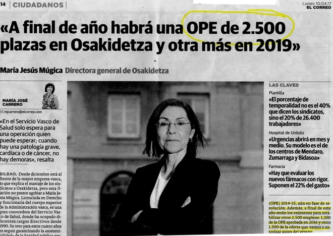Oposiciones Osakidetza 2017